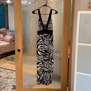 Lotus Zebra print deep v maxi dress